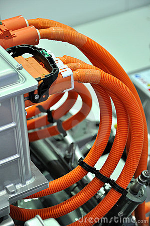 Orange color pipe line on equipment