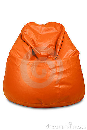 Orange colored bean bag