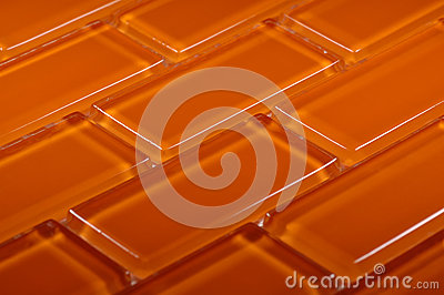 Orange coloured glass mosaic