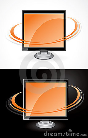Orange computer monitors