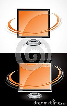 Orange computer monitors