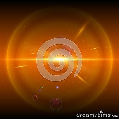Orange cosmic explosion, vector illustration