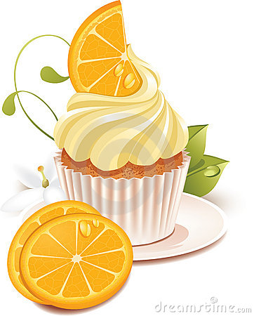 Orange cupcake Vector Illustration