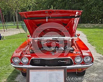 Orange Dodge Challenger Engine Editorial Stock Image