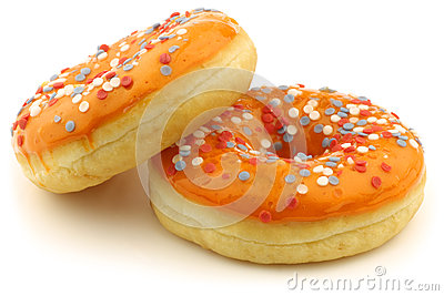 Orange donuts with red,white and blue sprinkles