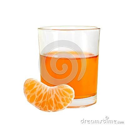 Orange drink with fruit segment