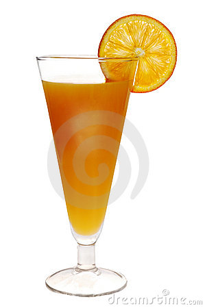 Orange drink with orange slice on side