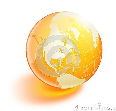 Orange en cristal de la terre