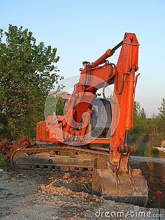 Orange excavator vertical