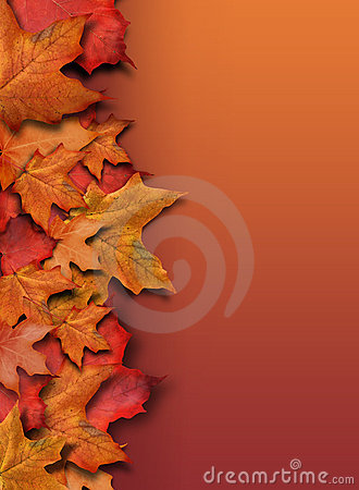 Orange Fall Background Border with Copyspace