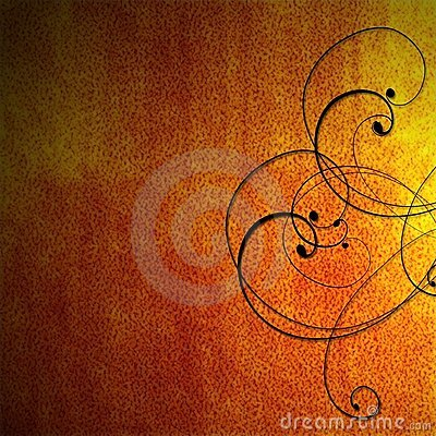 Orange fiery background with black scrollwork