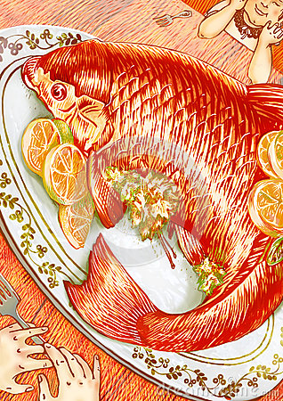 Orange fish dinner for two illustration