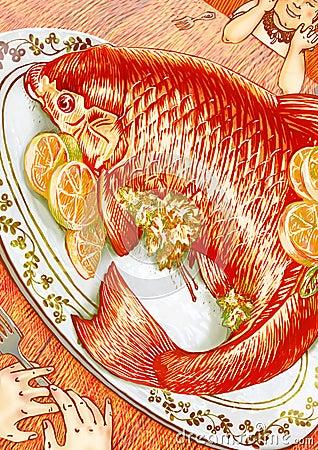 Orange fish dinner for two illustration