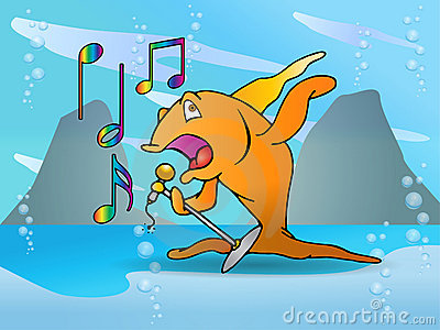 Orange  fish singing performance