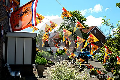 Orange flags decoration Editorial Photo