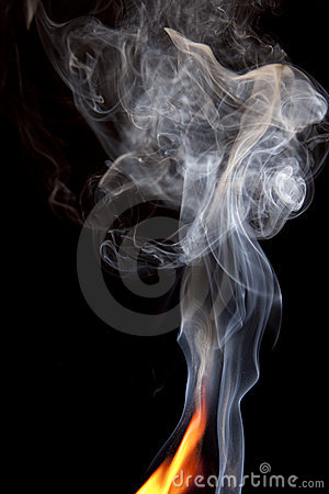 Orange Flame with Smoke Rising