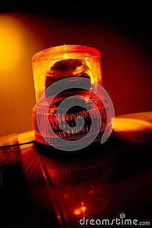 Orange flashing and rotating light