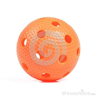 Orange floorball ball