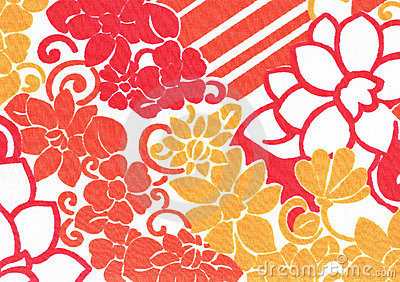 Orange flower pattern.