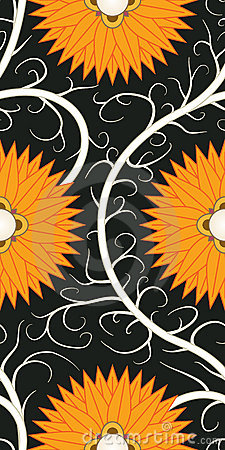 Orange flower seamless pattern