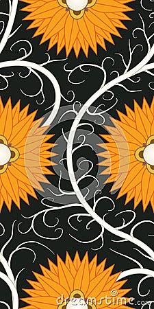 Orange flower seamless pattern