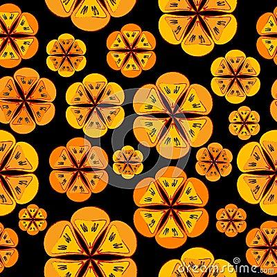 Orange flowers background seamless pattern