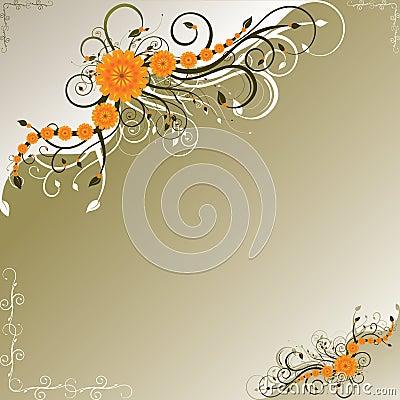 Orange flowers with dark green swirls