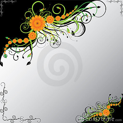 Orange flowers with green swirls