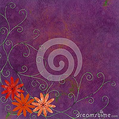 Orange flowers with swirls