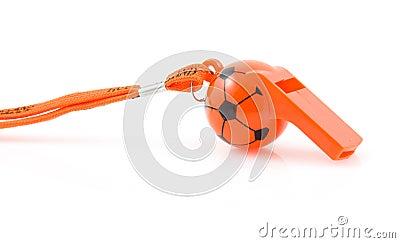 Orange flute in shape of soccer ball