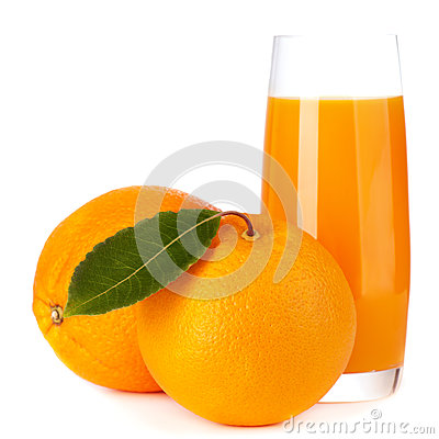 Orange fruit and juice isolated