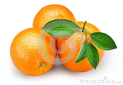 Orange fruit with leaves isolated on white background + clipping