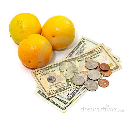 Orange fruit with money