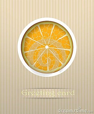 Orange fruit postcard illustration