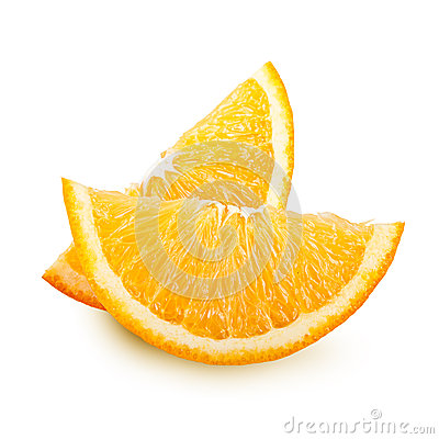 Orange fruit slices isolated.
