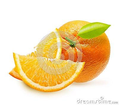 Orange fruit slices isolated.