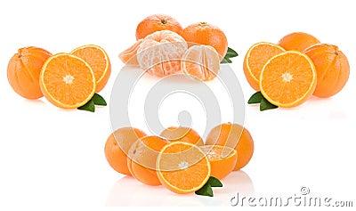 Orange fruit and slices on white