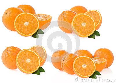 Orange fruit and slices on white
