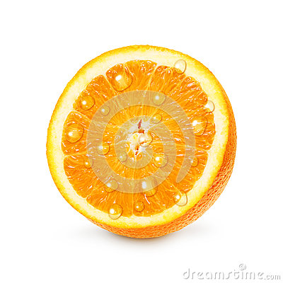 Orange fruit with water drops