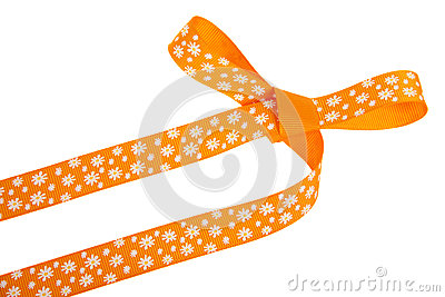 Orange gift bow with white flowers