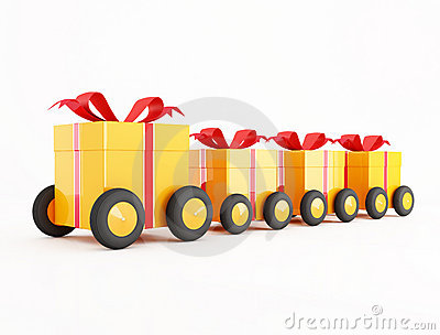Orange gift box convoy on wheels