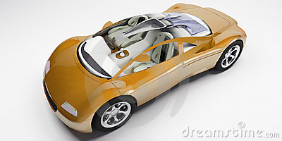 Orange glass top sports car