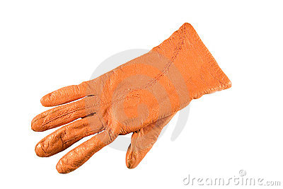 Orange glove isolated on white background