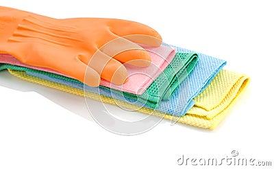 Orange glove on rags
