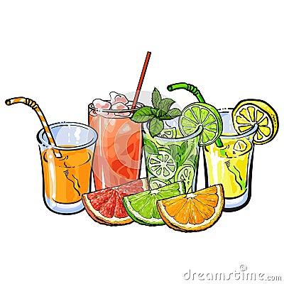 Free Orange, Grapefruit, Lime, Lemon Juice And Fruit Halves Royalty Free Stock Images - 90936379