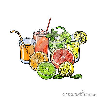 Free Orange, Grapefruit, Lime, Lemon Juice And Fruit Halves Royalty Free Stock Photos - 92106938