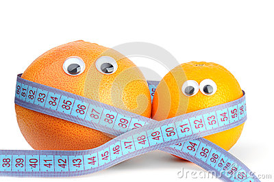 Orange and grapefruit in measurement