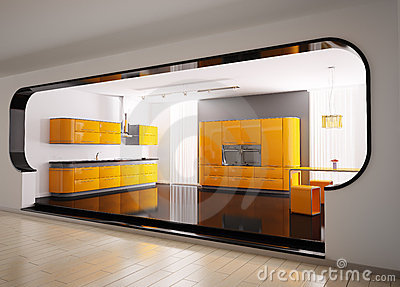 Orange gray kitchen 3d