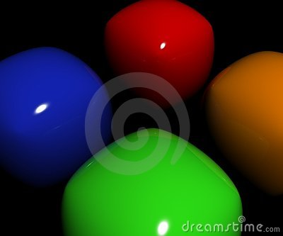 Orange and green blue and red plastic objects polishes and reflecting