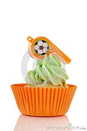 Orange and green cupcake